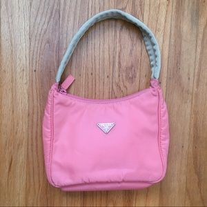 Prada tessuto necessaire mini hobo Kylie 90s pink